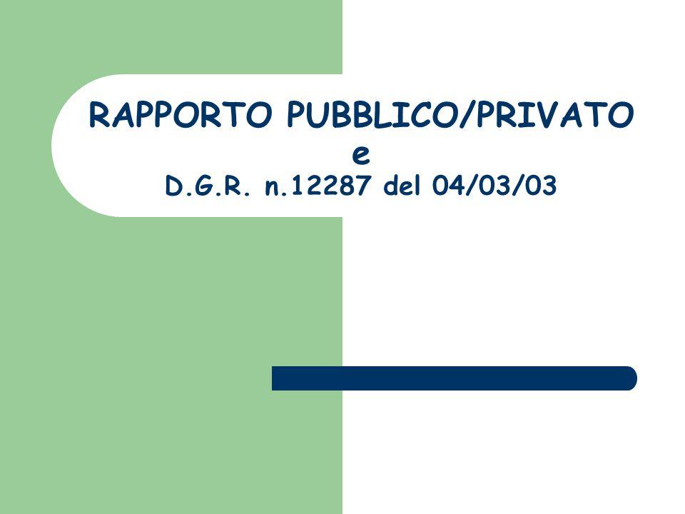 RAPPORTO PUBBLICO/PRIVATO e D.G.R. n.12287 del 04/03/03