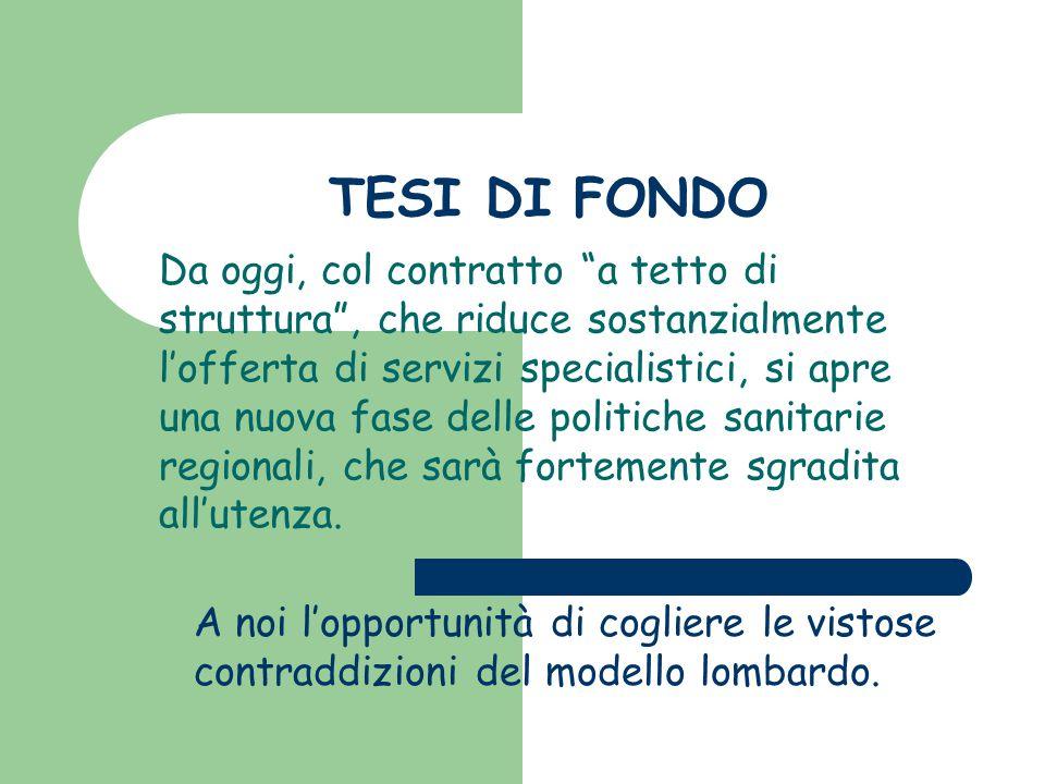 """TESI DI FONDO Da oggi, col contratto """"a tetto di struttura"""", che riduce sostanzialmente l'offerta di servizi specialistici, si apre una nuova fase del"""