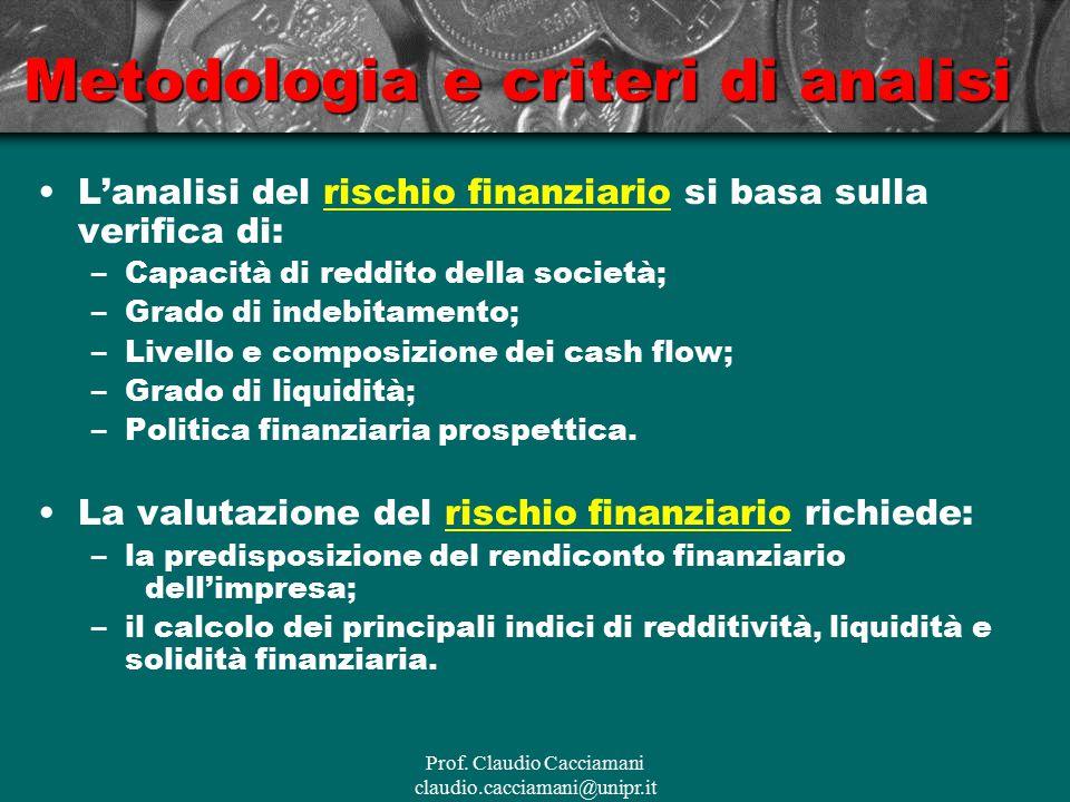 Prof. Claudio Cacciamani claudio.cacciamani@unipr.it Metodologia e criteri di analisi L'analisi del rischio finanziario si basa sulla verifica di: –Ca