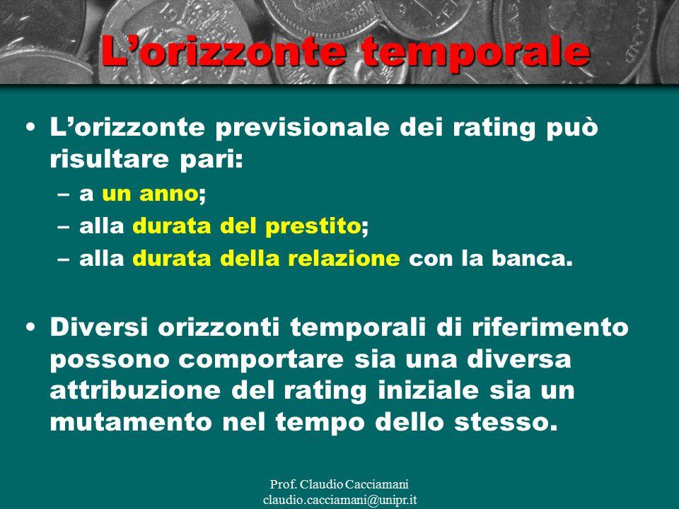 Prof. Claudio Cacciamani claudio.cacciamani@unipr.it L'orizzonte temporale L'orizzonte previsionale dei rating può risultare pari: –a un anno; –alla d