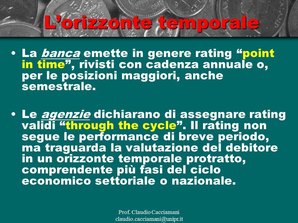 """Prof. Claudio Cacciamani claudio.cacciamani@unipr.it L'orizzonte temporale La banca emette in genere rating """"point in time"""", rivisti con cadenza annua"""