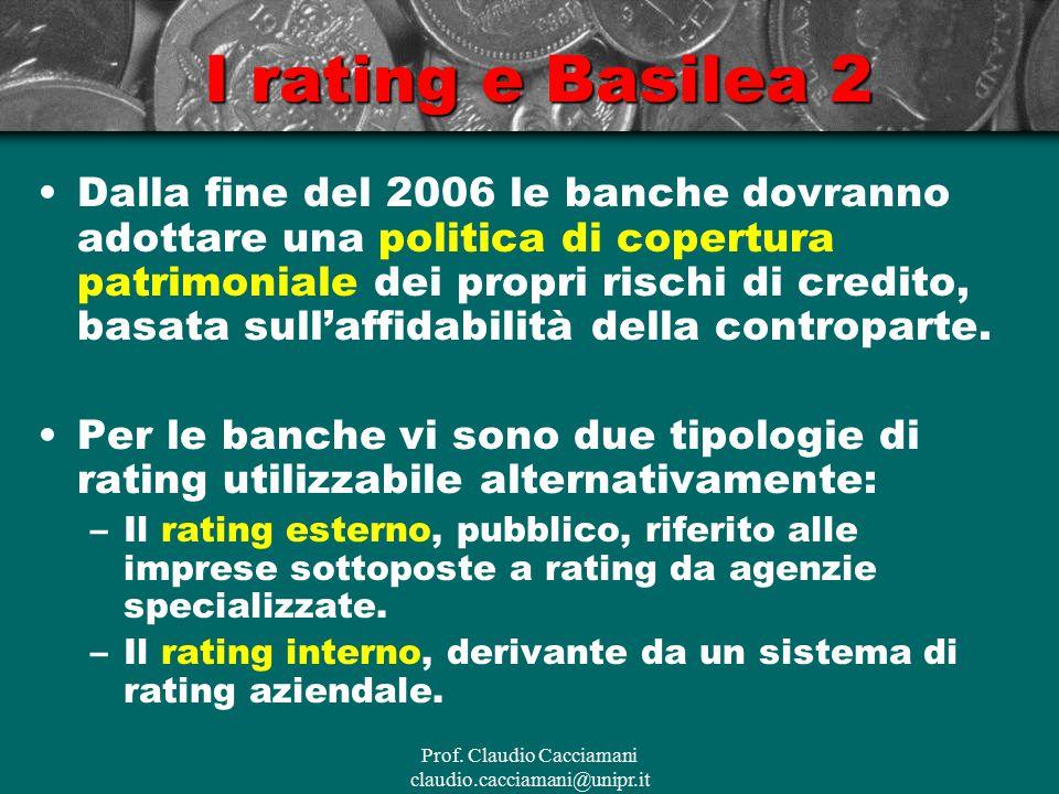 Prof. Claudio Cacciamani claudio.cacciamani@unipr.it I rating e Basilea 2 Dalla fine del 2006 le banche dovranno adottare una politica di copertura pa