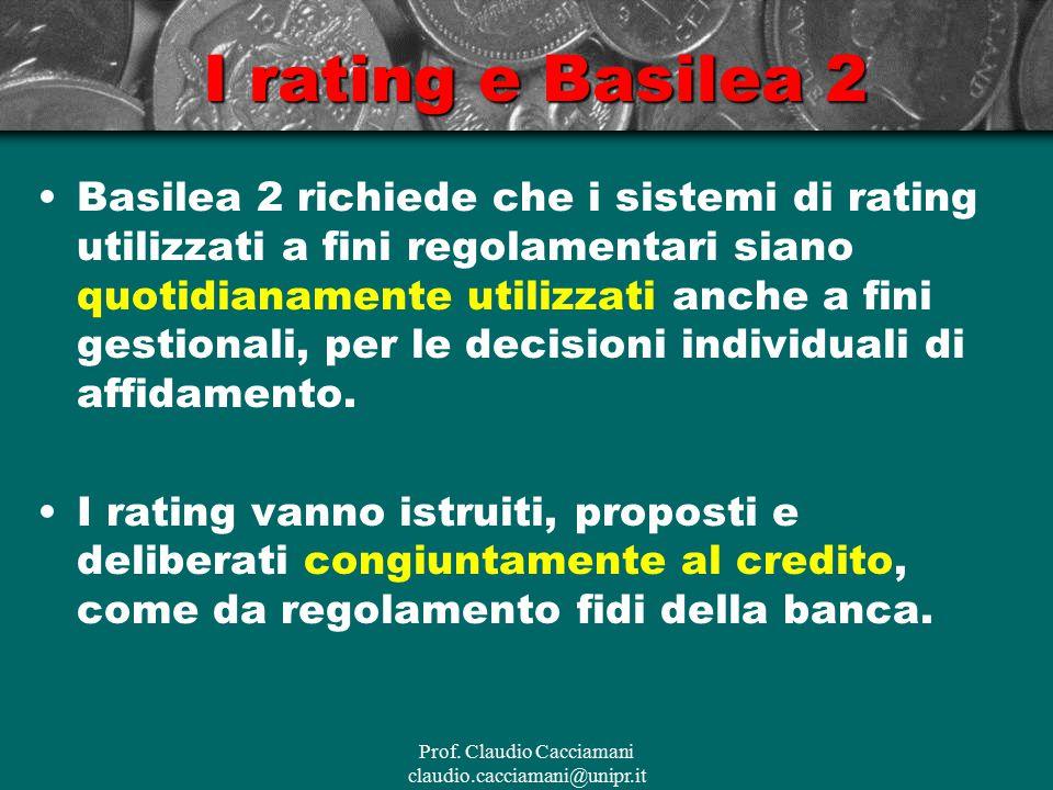 Prof. Claudio Cacciamani claudio.cacciamani@unipr.it I rating e Basilea 2 Basilea 2 richiede che i sistemi di rating utilizzati a fini regolamentari s