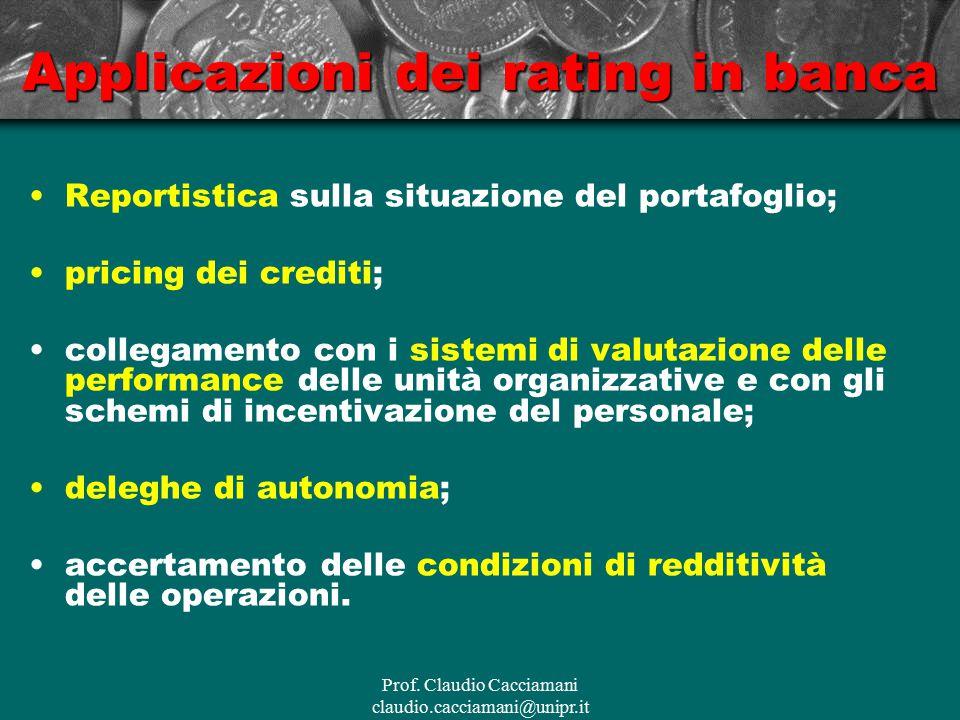 Prof. Claudio Cacciamani claudio.cacciamani@unipr.it Applicazioni dei rating in banca Reportistica sulla situazione del portafoglio; pricing dei credi