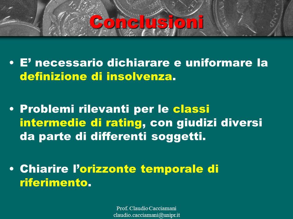 Prof. Claudio Cacciamani claudio.cacciamani@unipr.itConclusioni E' necessario dichiarare e uniformare la definizione di insolvenza. Problemi rilevanti