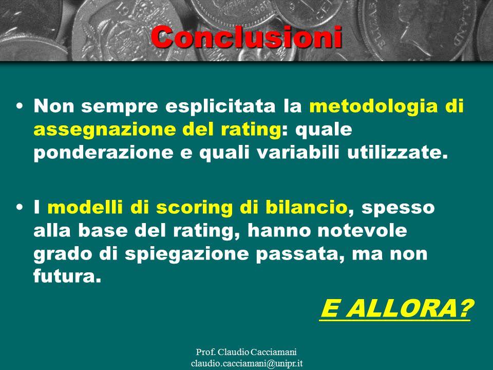 Prof. Claudio Cacciamani claudio.cacciamani@unipr.itConclusioni Non sempre esplicitata la metodologia di assegnazione del rating: quale ponderazione e