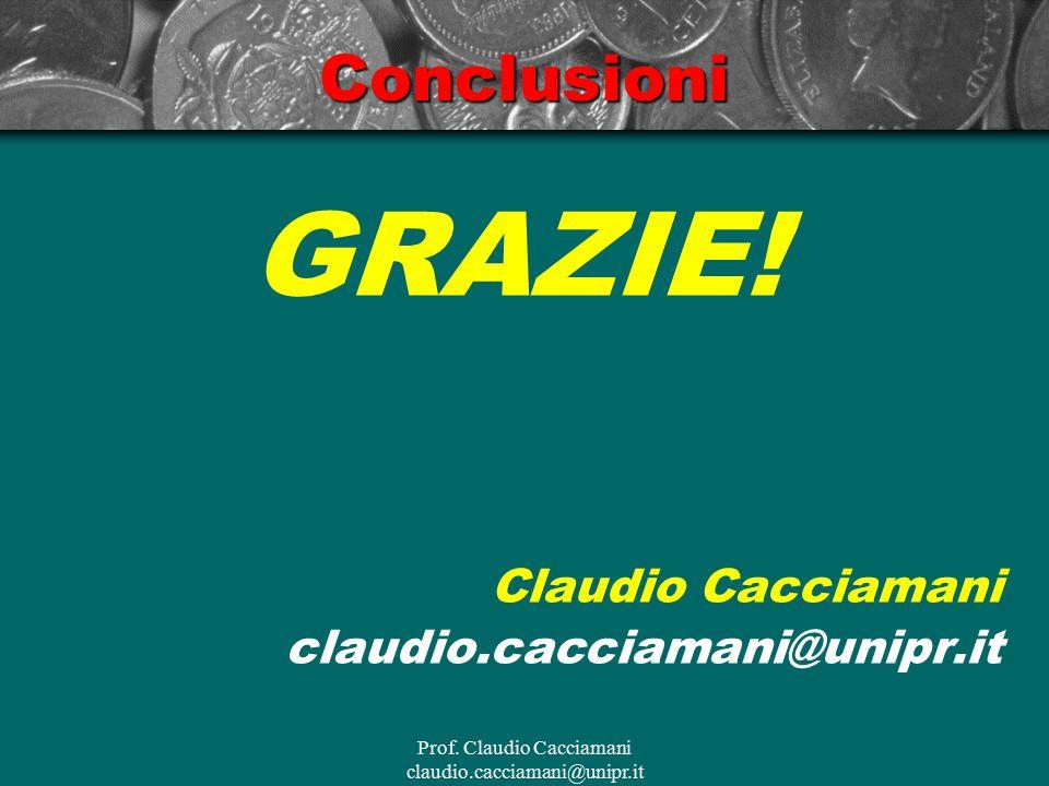 Prof. Claudio Cacciamani claudio.cacciamani@unipr.itConclusioni GRAZIE! Claudio Cacciamani claudio.cacciamani@unipr.it