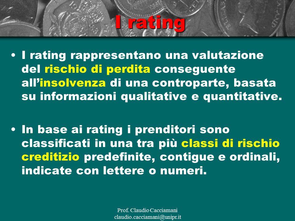 I rating I rating rappresentano una valutazione del rischio di perdita conseguente all'insolvenza di una controparte, basata su informazioni qualitati