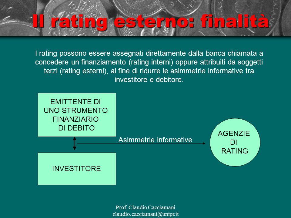 Prof. Claudio Cacciamani claudio.cacciamani@unipr.it Il rating esterno: finalità EMITTENTE DI UNO STRUMENTO FINANZIARIO DI DEBITO INVESTITORE Asimmetr