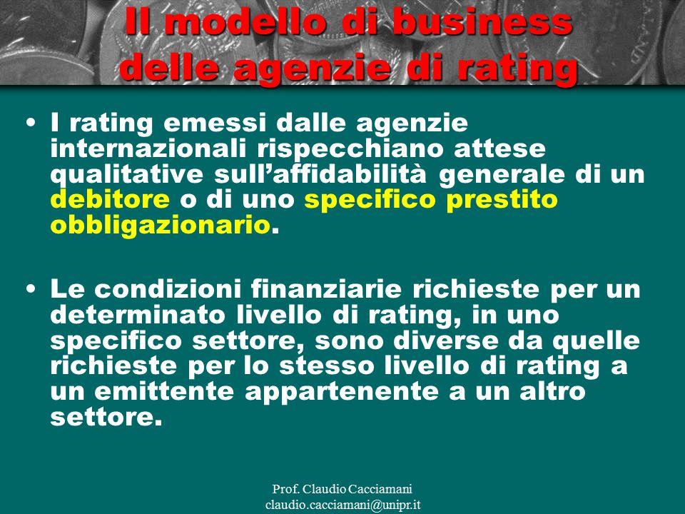 Prof. Claudio Cacciamani claudio.cacciamani@unipr.it Il modello di business delle agenzie di rating I rating emessi dalle agenzie internazionali rispe
