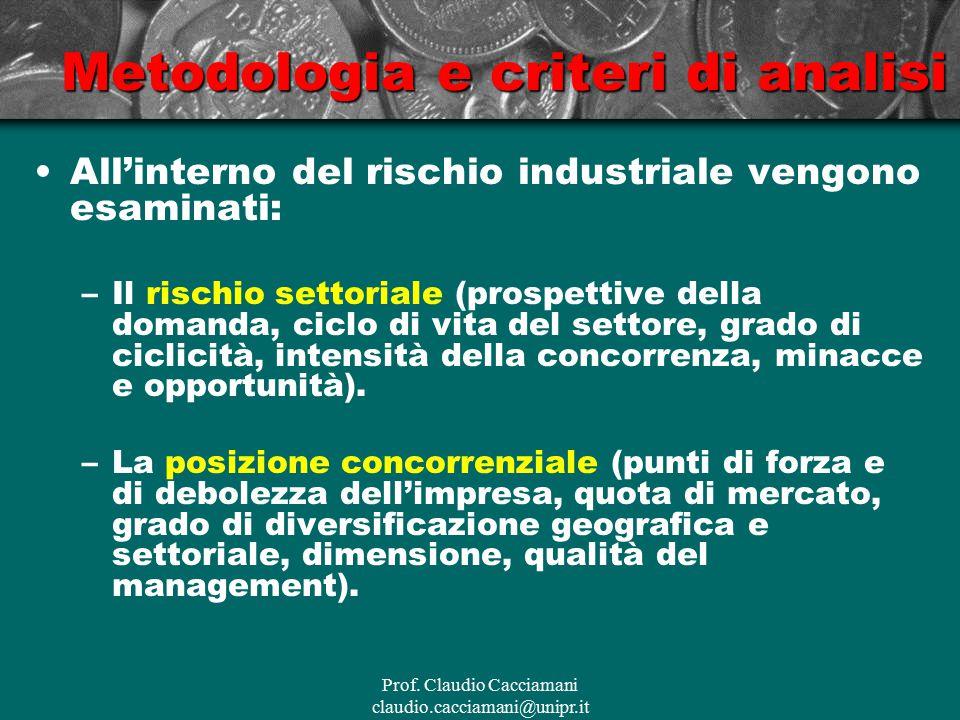 Prof. Claudio Cacciamani claudio.cacciamani@unipr.it Metodologia e criteri di analisi All'interno del rischio industriale vengono esaminati: –Il risch