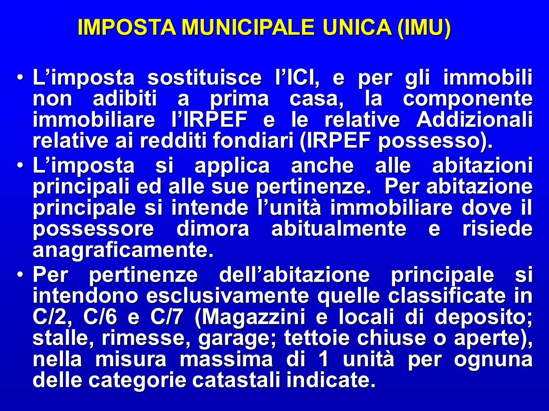 IMPOSTA MUNICIPALE UNICA (IMU) IMPOSTA MUNICIPALE UNICA (IMU) L'imposta sostituisce l'ICI, e per gli immobili non adibiti a prima casa, la componente immobiliare l'IRPEF e le relative Addizionali relative ai redditi fondiari (IRPEF possesso).L'imposta sostituisce l'ICI, e per gli immobili non adibiti a prima casa, la componente immobiliare l'IRPEF e le relative Addizionali relative ai redditi fondiari (IRPEF possesso).