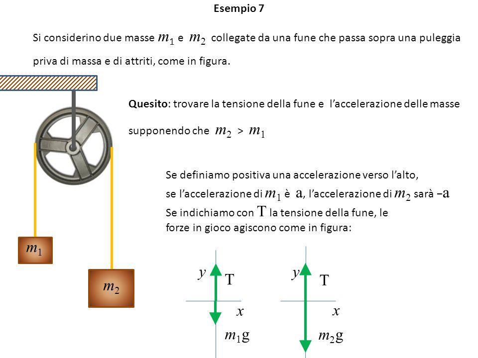 Esempio 7 m2m2 m1m1 Si considerino due masse m 1 e m 2 collegate da una fune che passa sopra una puleggia priva di massa e di attriti, come in figura.