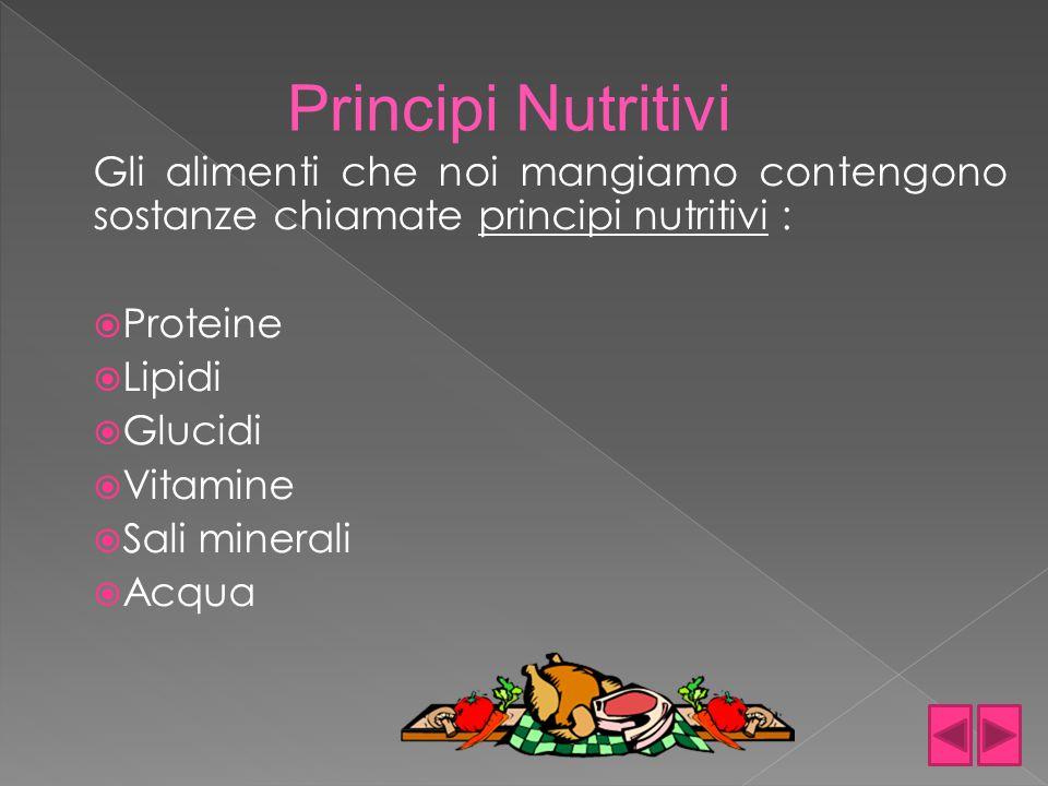 Gli alimenti che noi mangiamo contengono sostanze chiamate principi nutritivi :  Proteine  Lipidi  Glucidi  Vitamine  Sali minerali  Acqua Princ