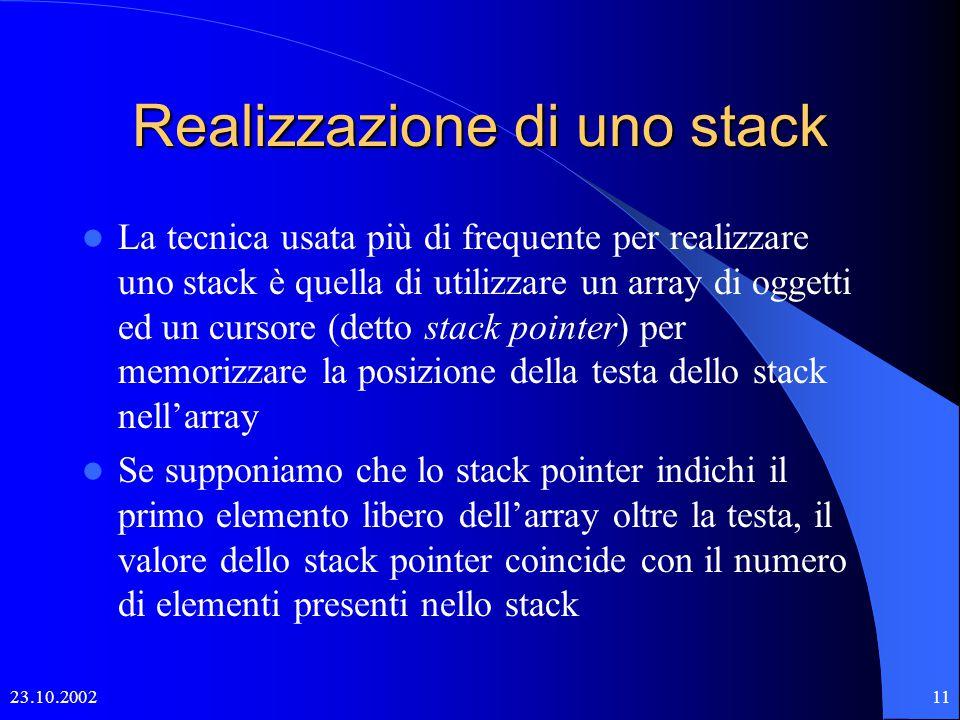 23.10.200210 L'interfaccia: Stack Uno stack conterrà dati di un certo tipo, per cui dovremmo parlare di stack di interi, di stringhe, ….