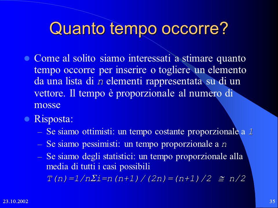 23.10.200234 Inserzione di un oggetto 01234567891011121314 primoultimo X X