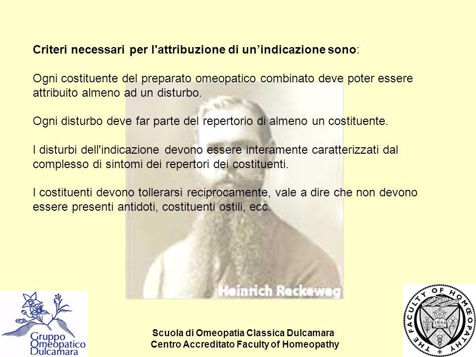 Scuola di Omeopatia Classica Dulcamara Centro Accreditato Faculty of Homeopathy Criteri necessari per l'attribuzione di un'indicazione sono: Ogni cost