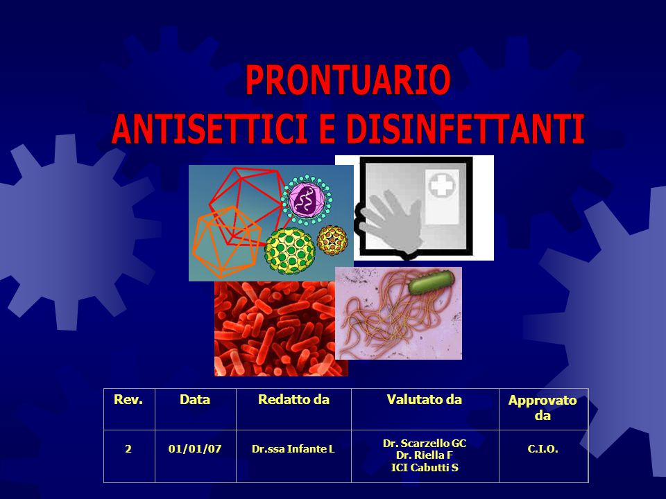Detersione Procedura atta ad allontanare un'elevata percentuale di microrganismi e di materiale organico ed inorganico.