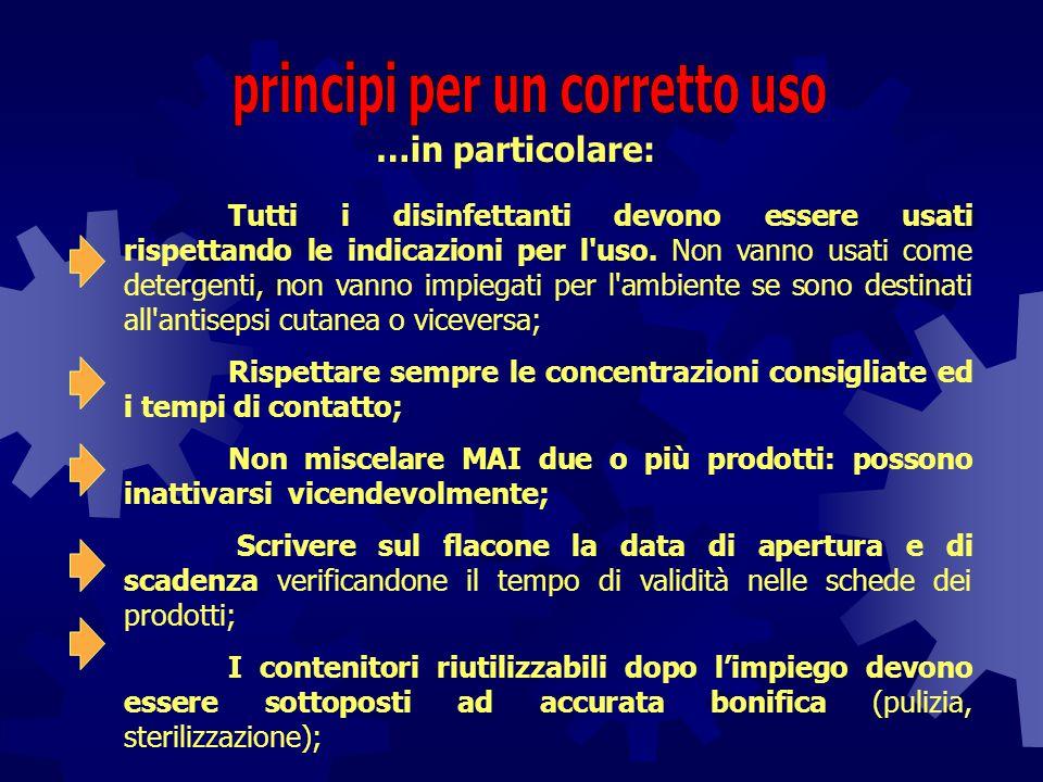 …in particolare: Tutti i disinfettanti devono essere usati rispettando le indicazioni per l'uso. Non vanno usati come detergenti, non vanno impiegati