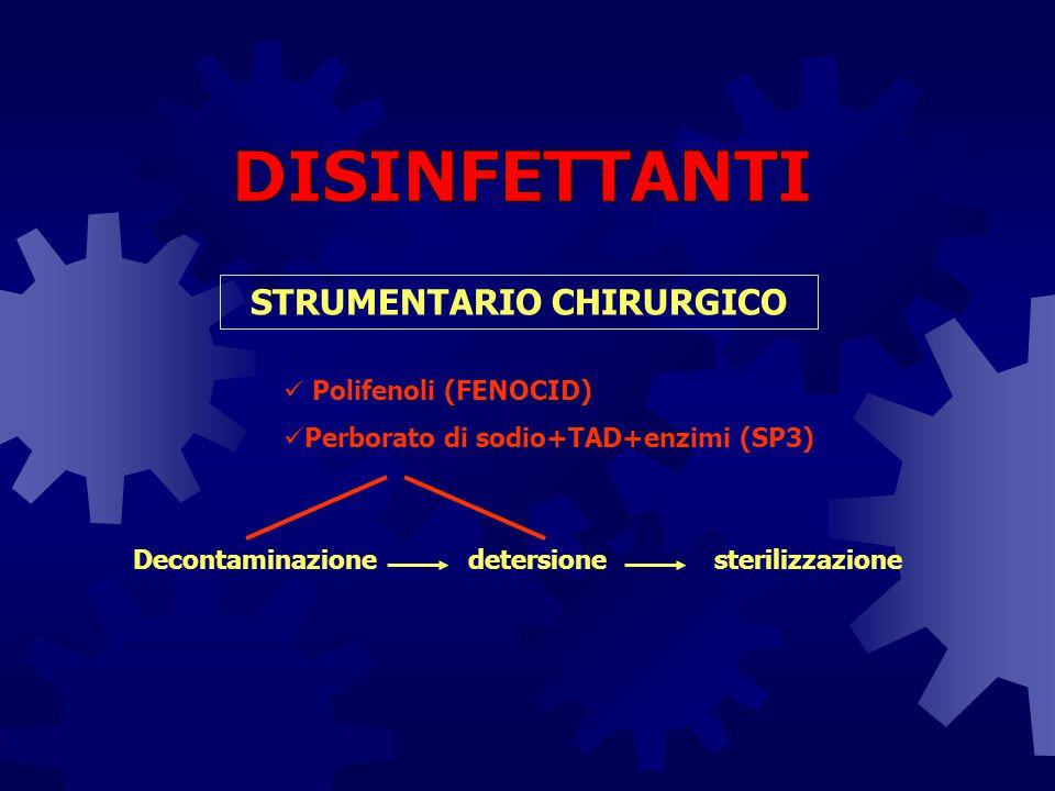 Decontaminazionedetersione STRUMENTARIO CHIRURGICO sterilizzazione Polifenoli (FENOCID) Perborato di sodio+TAD+enzimi (SP3)