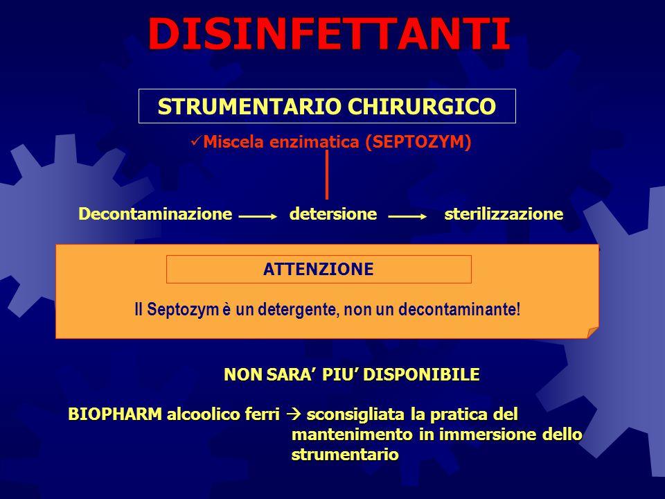 Decontaminazionedetersione STRUMENTARIO CHIRURGICO sterilizzazione Miscela enzimatica (SEPTOZYM) ATTENZIONE Il Septozym è un detergente, non un decont