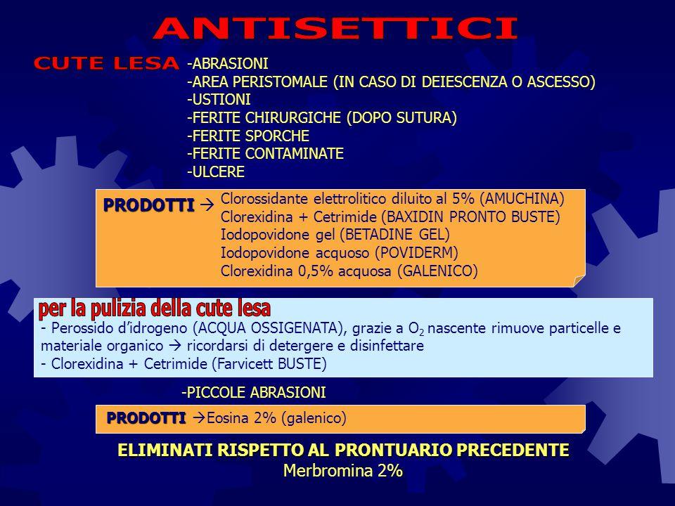 -ANTISEPSI MEATO URINARIO PER CATETERISMO VESCICALE Clorexidina + Cetrimide (Farvicett BUSTE) PRODOTTI PRODOTTI  -DISINFEZIONE E PULIZIA AREA PERINEALE E GENITALI ESTERNI Didecildimetilammonio cloruro (Sanitas alfa) Clorossidante elettrolitico diluito al 5% (AMUCHINA) PRODOTTI PRODOTTI  -IRRIGAZIONI VAGINALI Iodopovidone soluz.