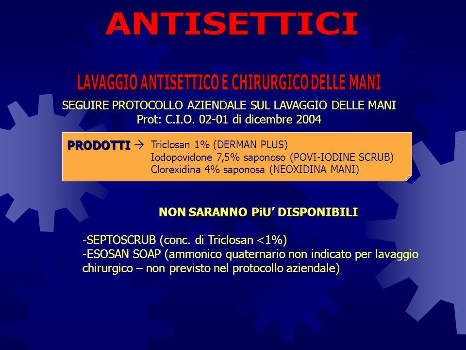 SEGUIRE PROTOCOLLO AZIENDALE SUL LAVAGGIO DELLE MANI Prot: C.I.O. 02-01 di dicembre 2004 Triclosan 1% (DERMAN PLUS) Iodopovidone 7,5% saponoso (POVI-I