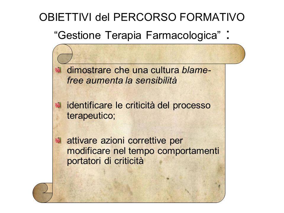 """OBIETTIVI del PERCORSO FORMATIVO """"Gestione Terapia Farmacologica"""" : dimostrare che una cultura blame- free aumenta la sensibilità identificare le crit"""