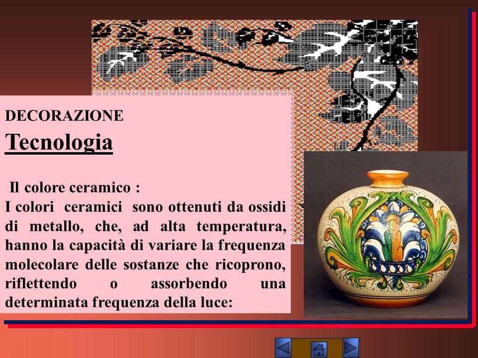 DECORAZIONE Tecnologia Il colore ceramico : I colori ceramici sono ottenuti da ossidi di metallo, che, ad alta temperatura, hanno la capacità di varia