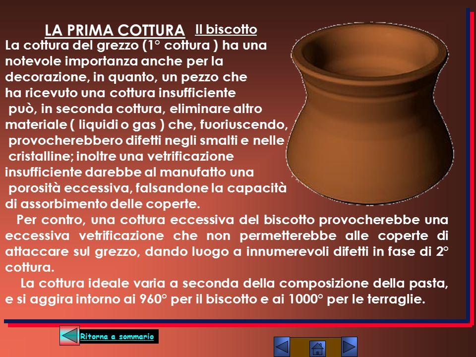 Il biscotto La cottura del grezzo (1° cottura ) ha una notevole importanza anche per la decorazione, in quanto, un pezzo che ha ricevuto una cottura i