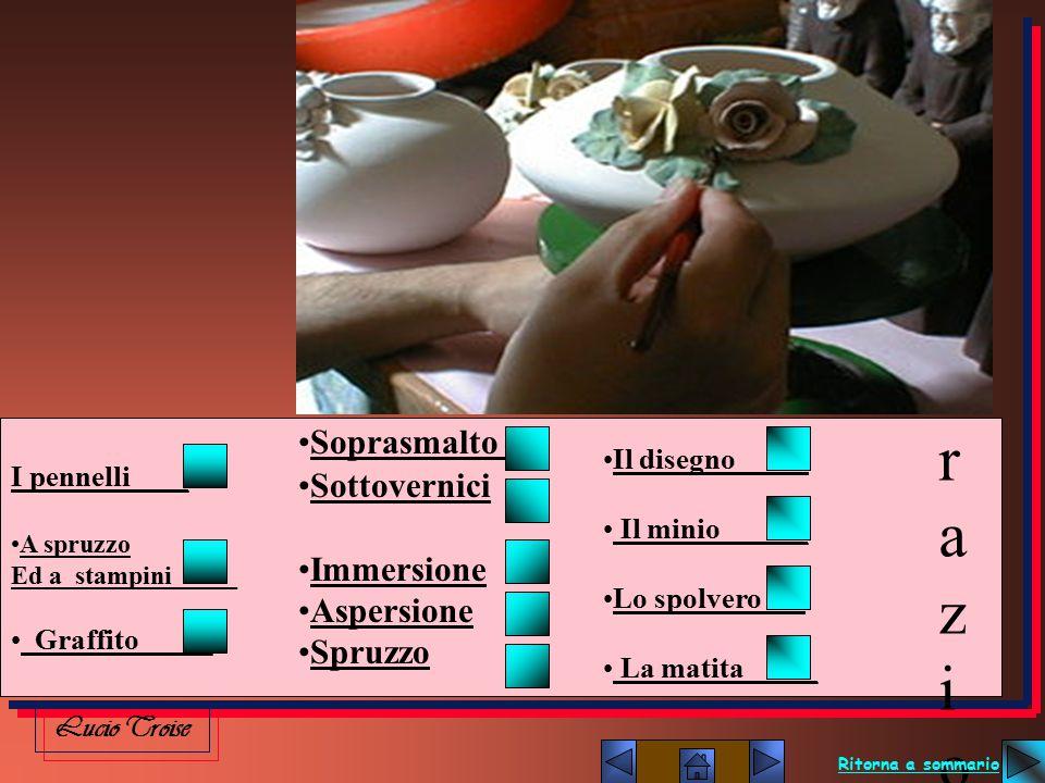 I pennelli____ A spruzzo Ed a stampini_____ Graffito_____ Soprasmalto Sottovernici Immersione Aspersione Spruzzo Il disegno_____ Il minio______ Lo spo