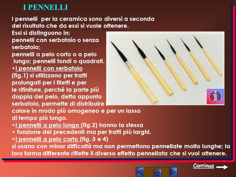 I pennelli per la ceramica sono diversi a seconda del risultato che da essi si vuole ottenere. Essi si distinguono in: pennelli con serbatoio o senza