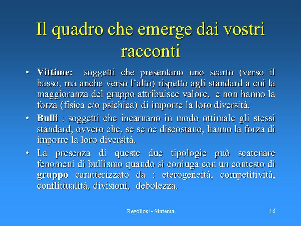 Regoliosi - Sintema16 Il quadro che emerge dai vostri racconti Vittime: soggetti che presentano uno scarto (verso il basso, ma anche verso l'alto) ris
