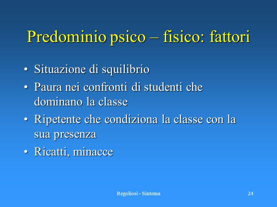 Regoliosi - Sintema24 Predominio psico – fisico: fattori Situazione di squilibrioSituazione di squilibrio Paura nei confronti di studenti che dominano