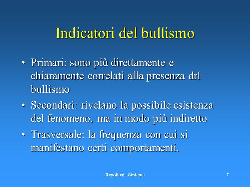 Regoliosi - Sintema7 Indicatori del bullismo Primari: sono più direttamente e chiaramente correlati alla presenza drl bullismoPrimari: sono più dirett