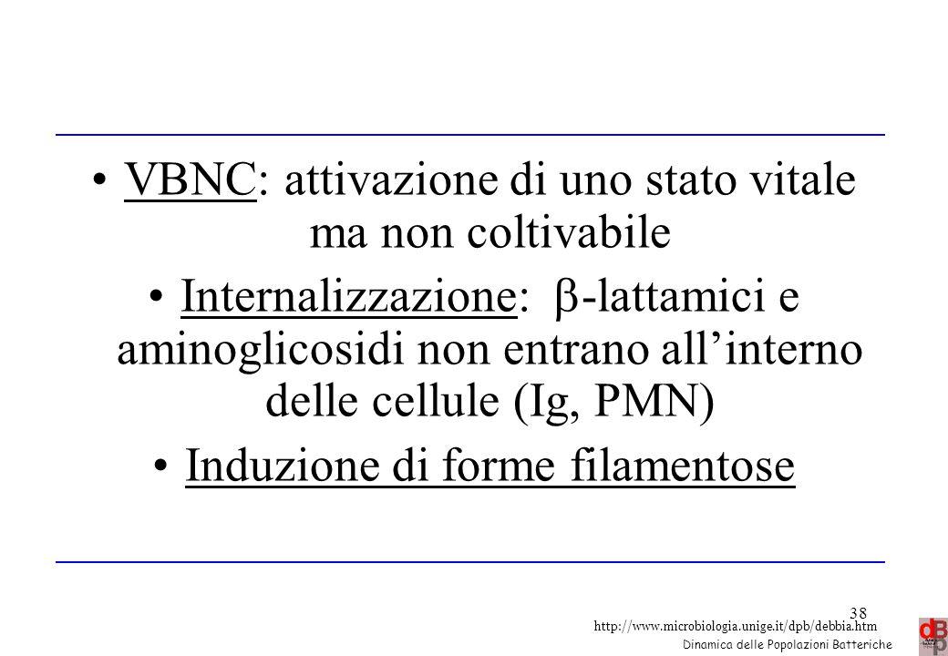 http://www.microbiologia.unige.it/dpb/debbia.htm Dinamica delle Popolazioni Batteriche 38 VBNC: attivazione di uno stato vitale ma non coltivabile Int