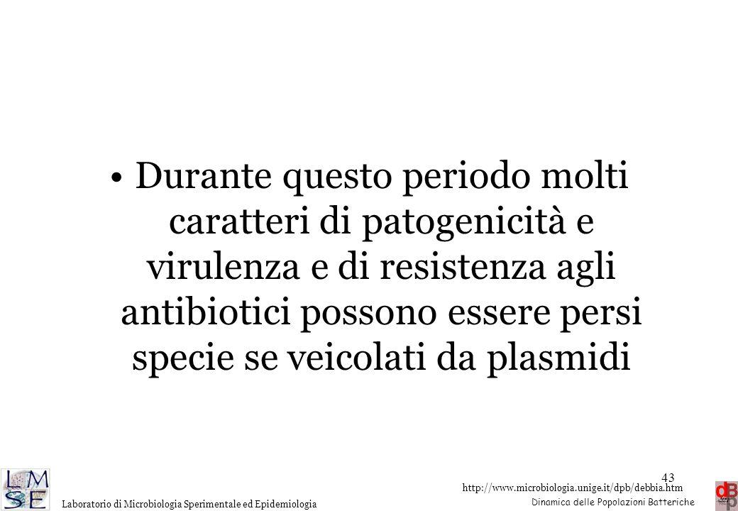 http://www.microbiologia.unige.it/dpb/debbia.htm Dinamica delle Popolazioni Batteriche Laboratorio di Microbiologia Sperimentale ed Epidemiologia 43 D