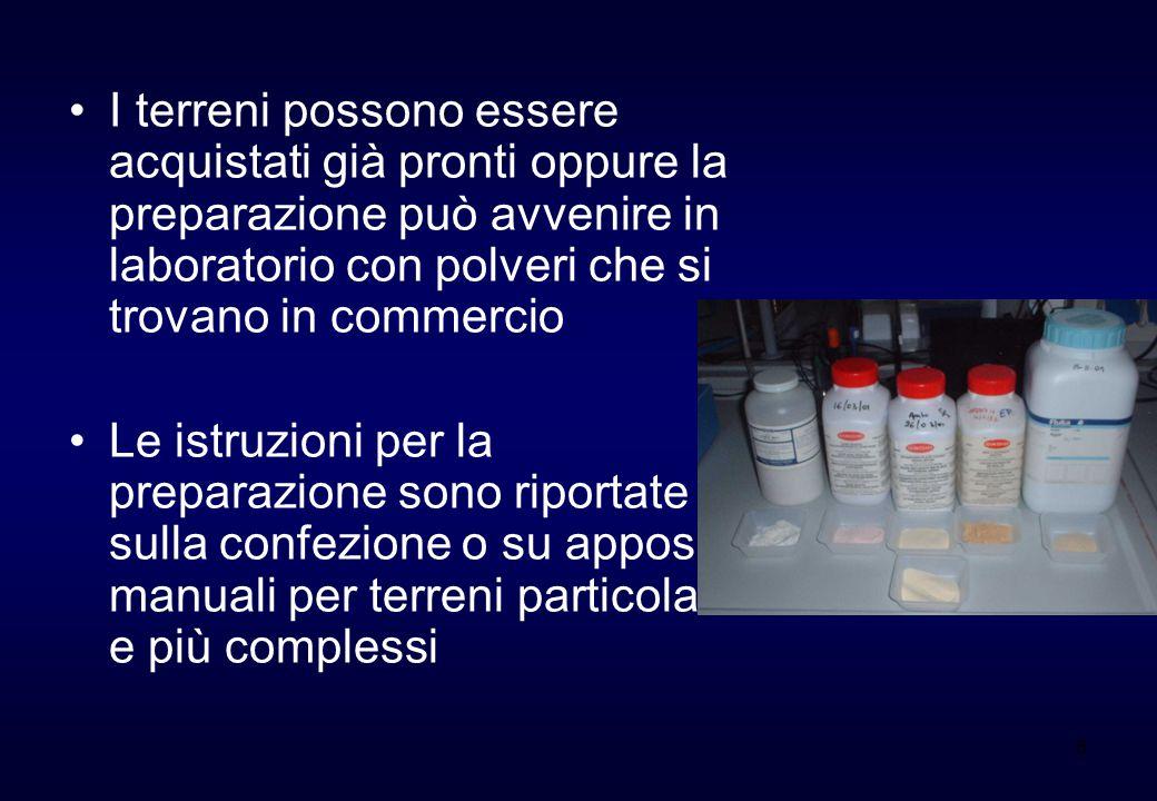 6 I terreni possono essere acquistati già pronti oppure la preparazione può avvenire in laboratorio con polveri che si trovano in commercio Le istruzi