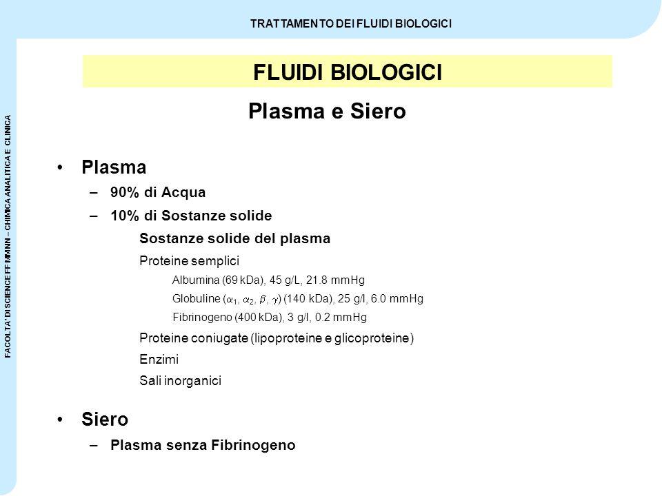 FACOLTA' DI SCIENCE FF MM NN – CHIMICA ANALITICA E CLINICA TRATTAMENTO DEI FLUIDI BIOLOGICI FLUIDI BIOLOGICI Plasma –90% di Acqua –10% di Sostanze sol