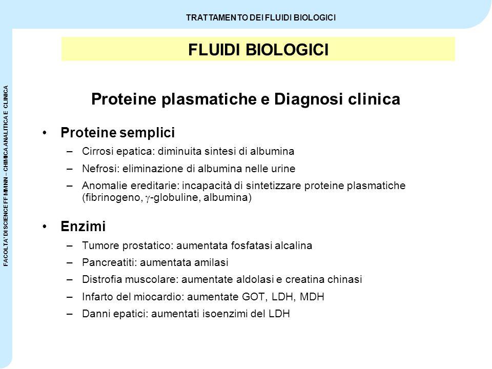 FACOLTA' DI SCIENCE FF MM NN – CHIMICA ANALITICA E CLINICA TRATTAMENTO DEI FLUIDI BIOLOGICI FLUIDI BIOLOGICI Volume delle 24 ore nell'adulto –1200 – 1500 mL (600 mL < normali < 2000 mL) Poliuria (> 2000 mL / 24 ore) –Diabete insipido (mancato riassorbimento tubulare dell'acqua) –Insufficienza renale cronica (persa capacità di concentrare l'urina) Oliguria (< 600 mL / 24 ore) –Disidratazione –Glomerulonefrite Urina
