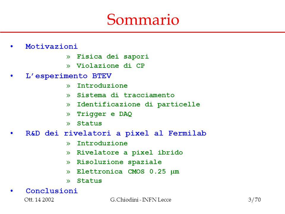 Ott. 14 2002G.Chiodini - INFN Lecce3/70 Sommario Motivazioni »Fisica dei sapori »Violazione di CP L'esperimento BTEV »Introduzione »Sistema di traccia