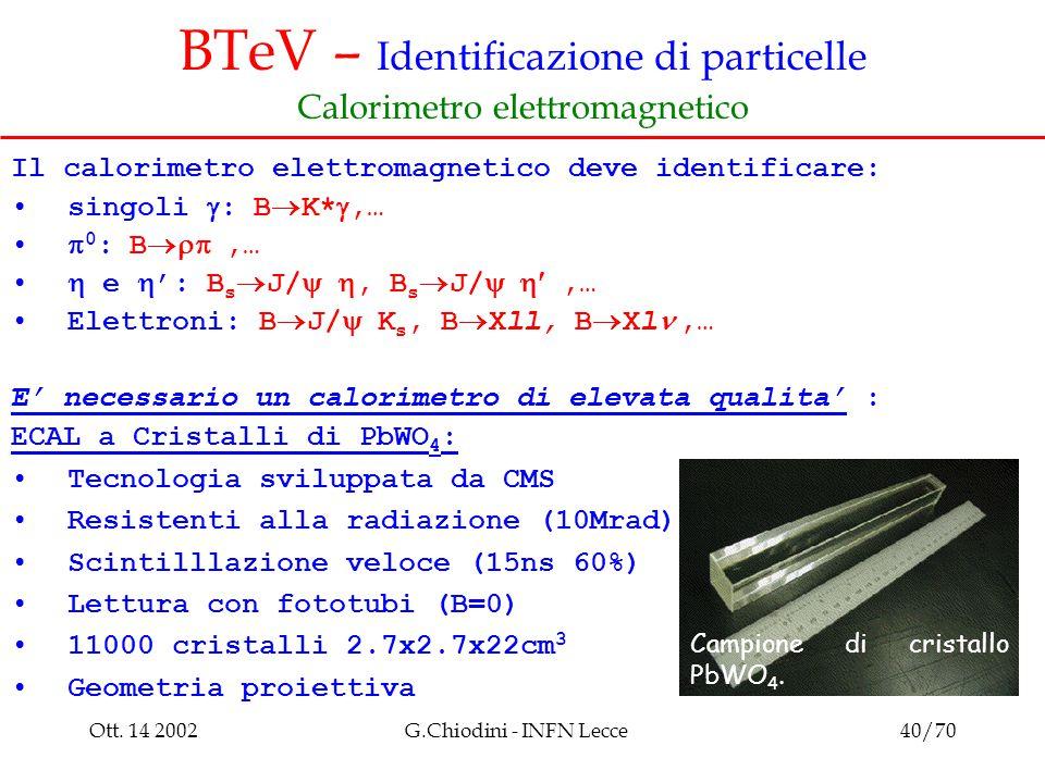 Ott. 14 2002G.Chiodini - INFN Lecce40/70 BTeV – Identificazione di particelle Calorimetro elettromagnetico Il calorimetro elettromagnetico deve identi