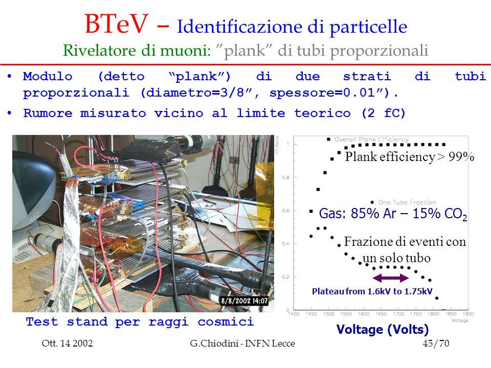"""Ott. 14 2002G.Chiodini - INFN Lecce45/70 BTeV – Identificazione di particelle Rivelatore di muoni: """"plank"""" di tubi proporzionali Modulo (detto """"plank"""""""