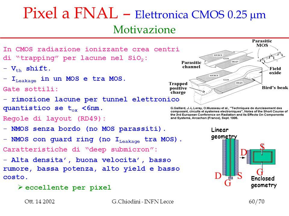 """Ott. 14 2002G.Chiodini - INFN Lecce60/70 Pixel a FNAL – Elettronica CMOS 0.25  m Motivazione In CMOS radiazione ionizzante crea centri di """"trapping"""""""
