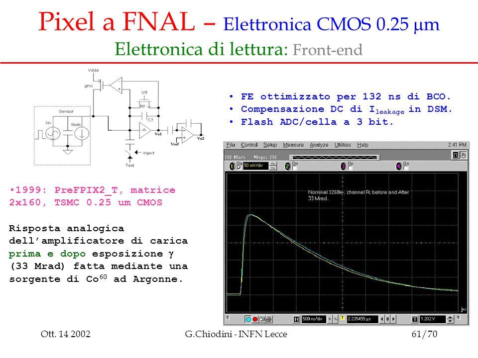 Ott. 14 2002G.Chiodini - INFN Lecce61/70 Pixel a FNAL – Elettronica CMOS 0.25  m Elettronica di lettura: Front-end FE ottimizzato per 132 ns di BCO.