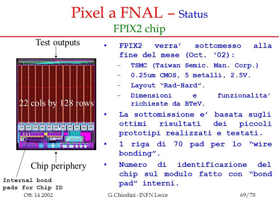 Ott. 14 2002G.Chiodini - INFN Lecce69/70 Pixel a FNAL – Status FPIX2 chip FPIX2 verra' sottomesso alla fine del mese (Oct. '02): –TSMC (Taiwan Semic.