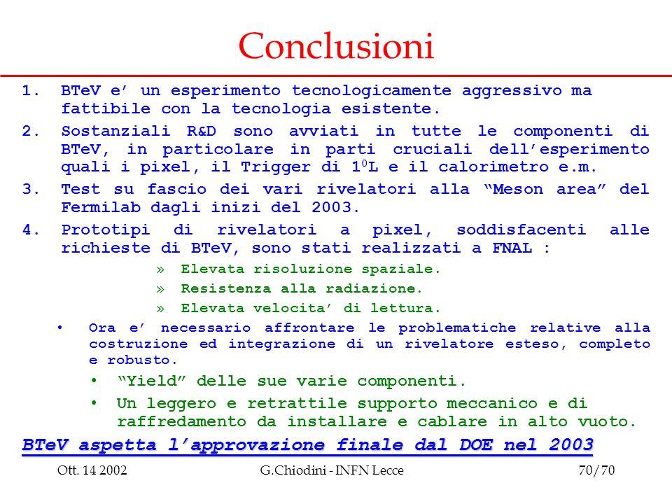 Ott. 14 2002G.Chiodini - INFN Lecce70/70 Conclusioni 1.BTeV e' un esperimento tecnologicamente aggressivo ma fattibile con la tecnologia esistente. 2.