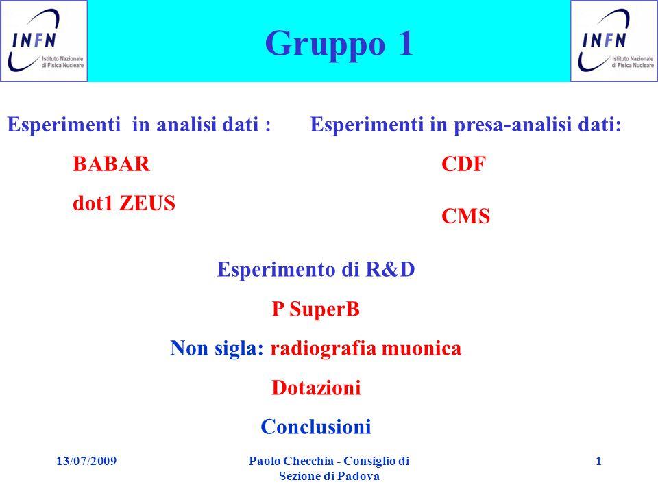 13/07/2009Paolo Checchia - Consiglio di Sezione di Padova 1 Gruppo 1 Esperimenti in analisi dati : BABAR dot1 ZEUS Esperimenti in presa-analisi dati: CDF CMS Esperimento di R&D P SuperB Non sigla: radiografia muonica Dotazioni Conclusioni