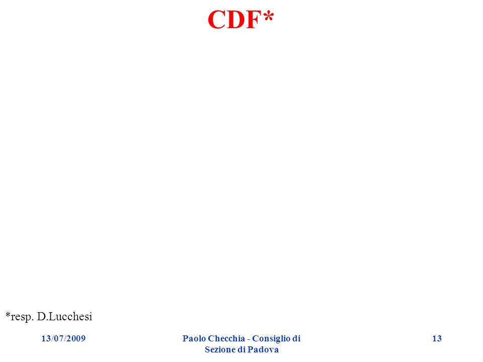 13/07/2009Paolo Checchia - Consiglio di Sezione di Padova 13 CDF* *resp. D.Lucchesi