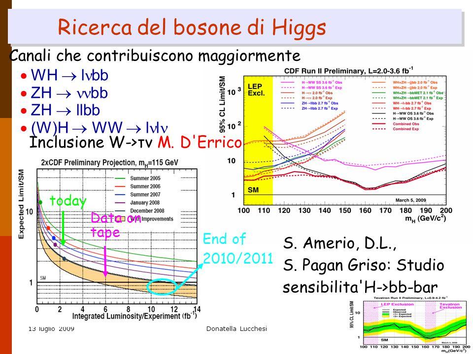 13 luglio 2009Donatella Lucchesi21 Ricerca del bosone di Higgs Canali che contribuiscono maggiormente  WH  l bb  ZH  bb  ZH  llbb  (W)H  WW  l l Inclusione W->τν M.